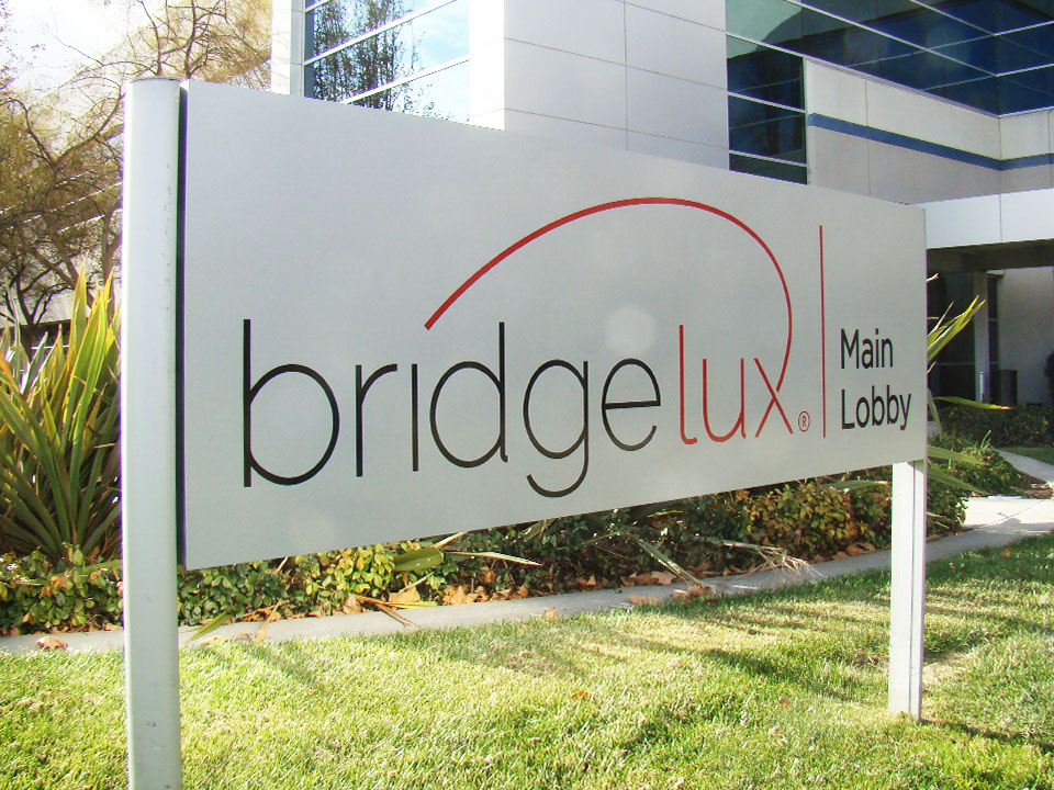 post and panel sign for Bridgelux in Livermore, CA made by Bennett Graphics in Pleasanton