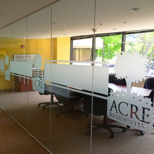 Bennett Graphics installed window film design for Acre Residential in Pleasanton