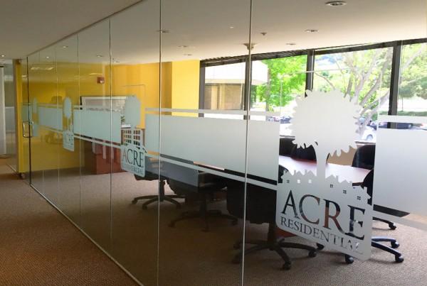 Bennett Graphics installed window film design for Acre Residential in Pleasanton