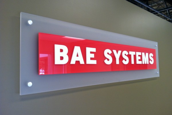 Acrylic Lobby Sign for BAE Systems by T Bennett Services, LLC in Pleasanton