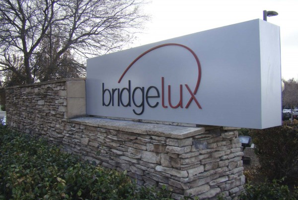 monument sign for Bridgelux in Livermore, CA made by Bennett Graphics in Pleasanton