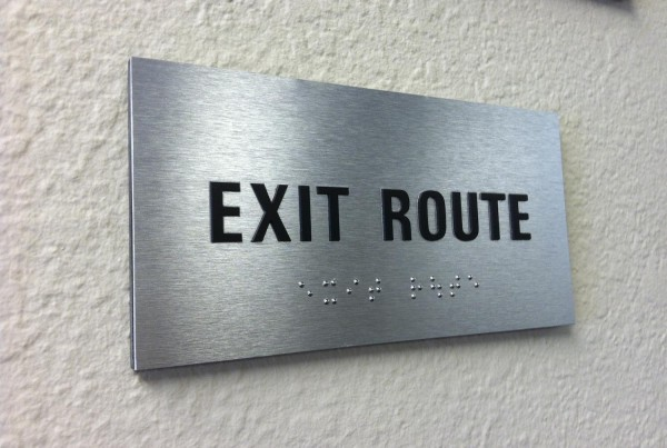 Exit Route ADA Sign with Tactile Letters on Brushed Aluminum Made in Pleasanton CA by T Bennett Services