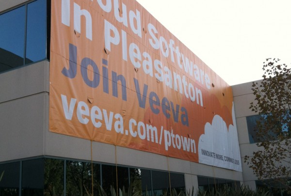 Grand Format Sign made of Vinyl for Veeva in Pleasanton, CA