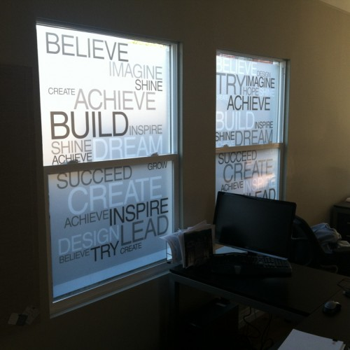 Typography Window Film design and Installation in Pleasanton