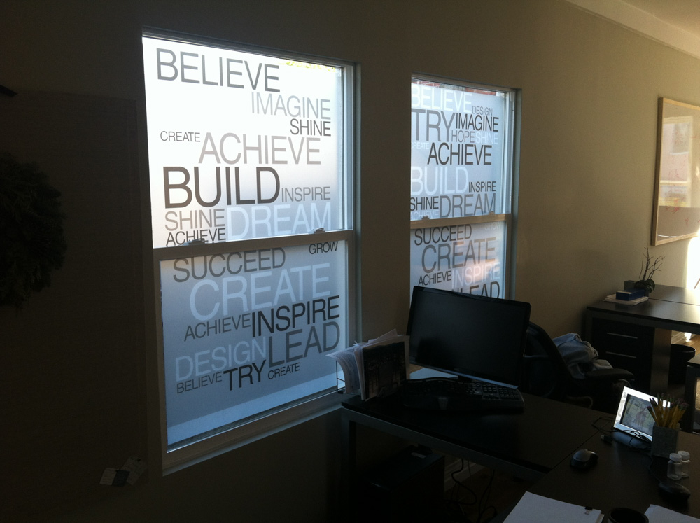 Typography Window Film design and Installation in Pleasanton