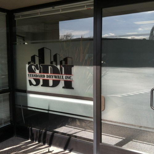 Window Film Installation with Print on dusted crystal in Pleasanton