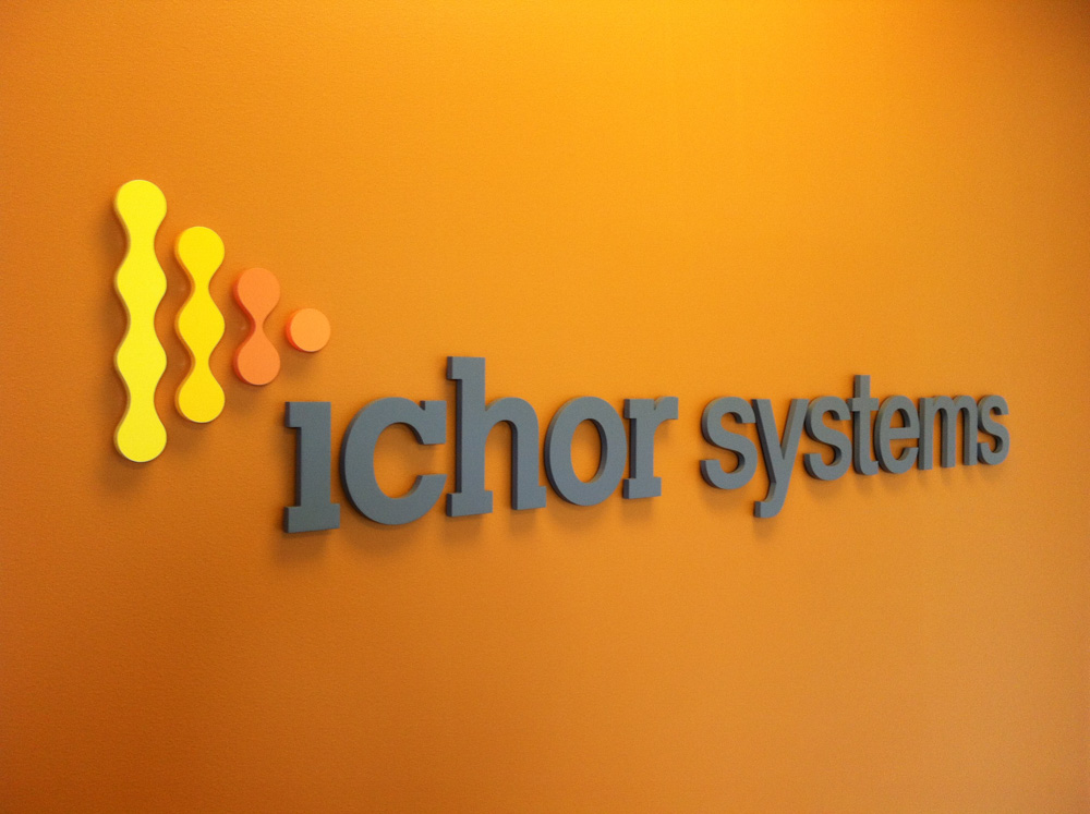 ichor Systems lobby sign crafted from Acrylic in Pleasanton