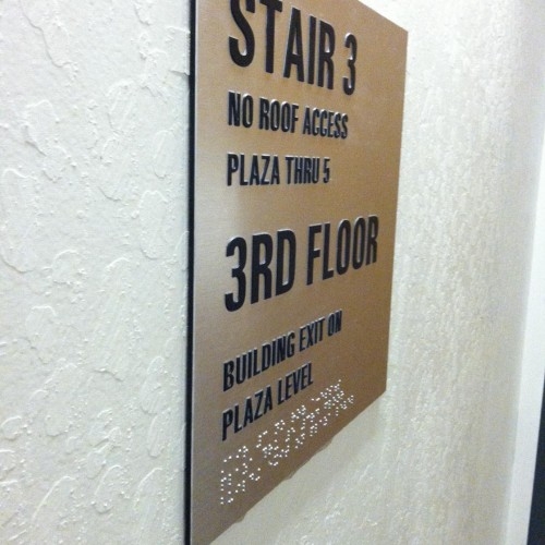 Tactile Stairwell ADA sign for Mt Diablo Plaza made by T Bennett Services, LLC in Pleasanton