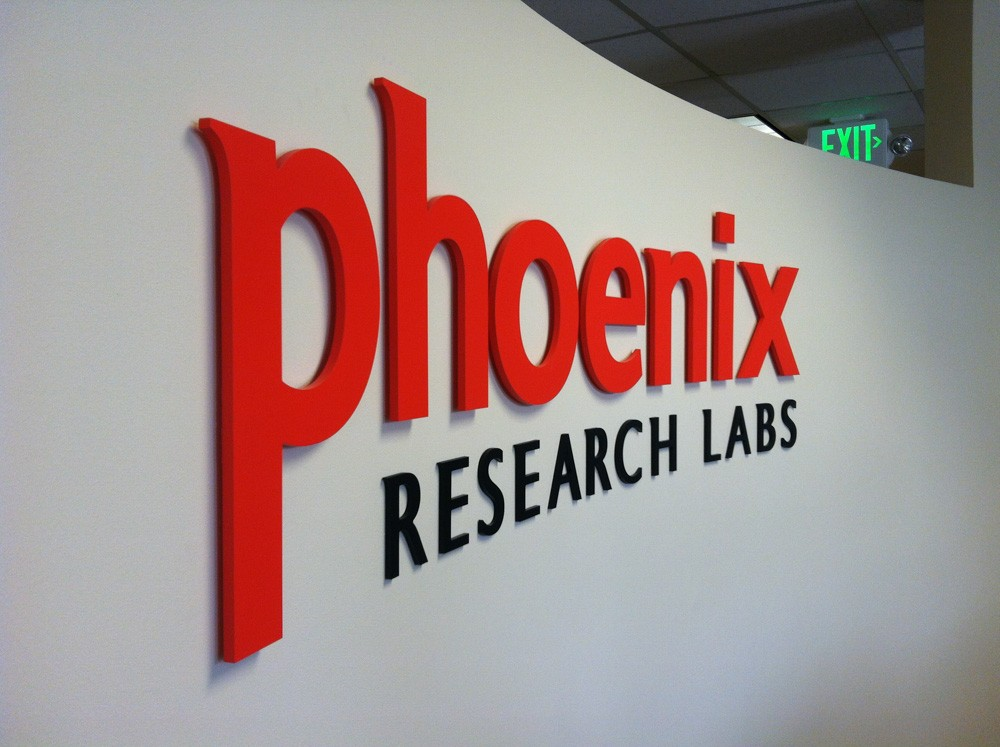 Lobby sign of Phoenix Research Labs made by T Bennett Sevices, LLC