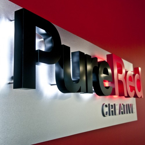 Pure Red Lobby Sign installed in Pleasanton