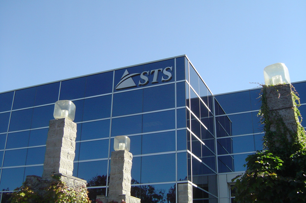 T. Bennett Services in Pleasanton made Stainless Steel Building Sign for STS