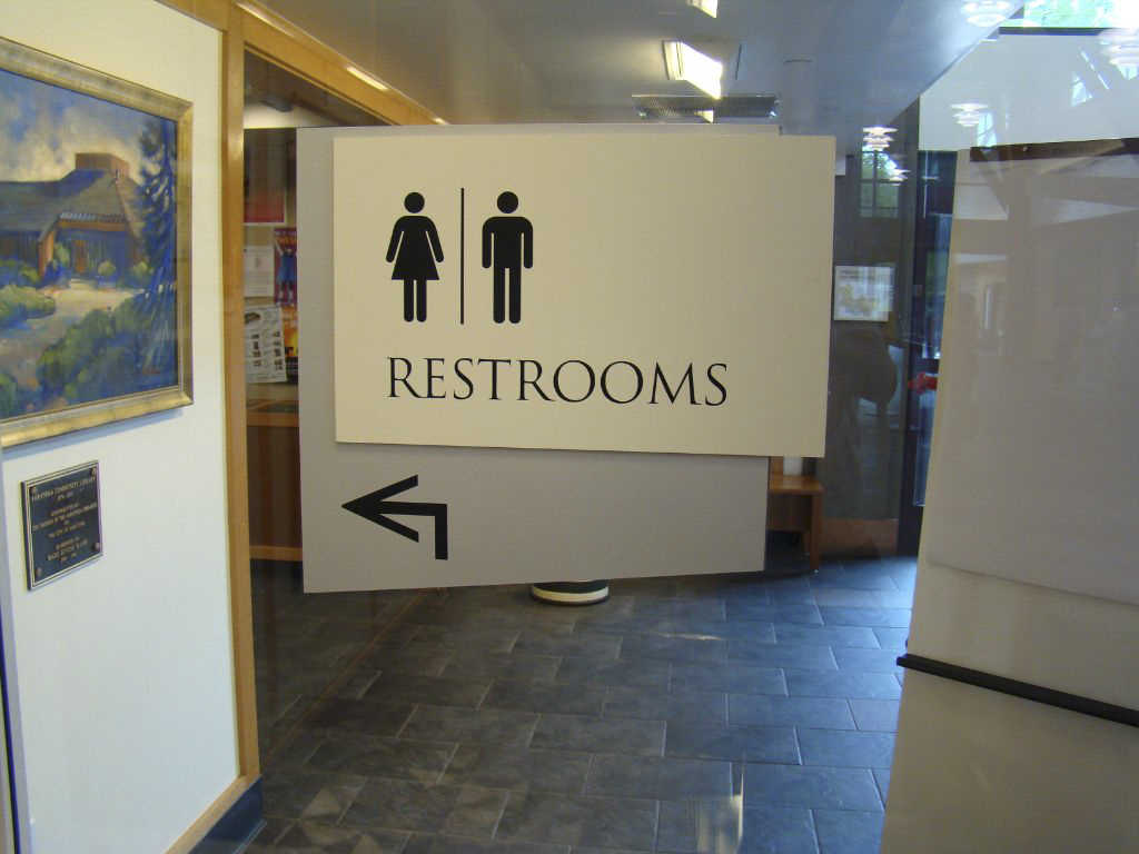 Saratoga Library Restroom Sign made by T Bennett Services in Pleasanton CA