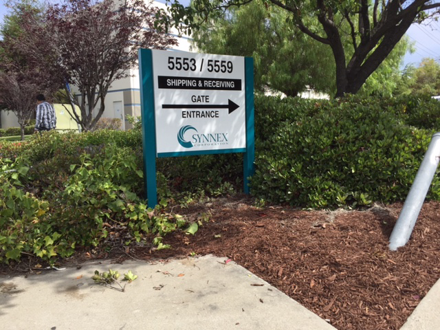 Post and Panel sign for Synnex by Bennett Graphics in Pleasanton