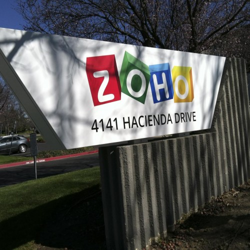 ZOHO monument sign in Pleasanton