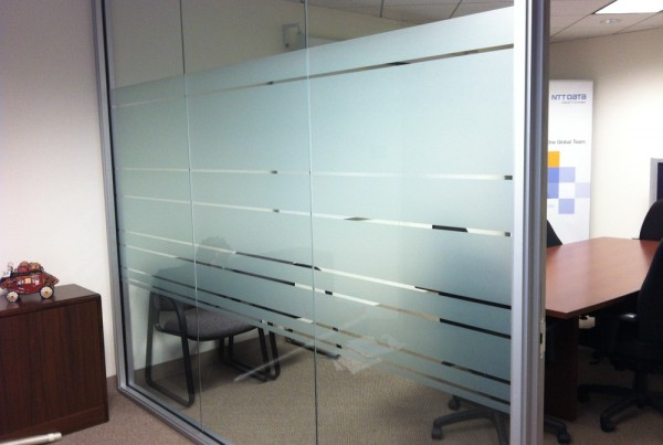 Dusted crystal Window film installation in Pleasanton by Bennett Graphics