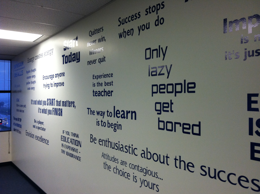 Vinyl Graphics on wall installed by Bennett Graphics in Pleasanton, CA