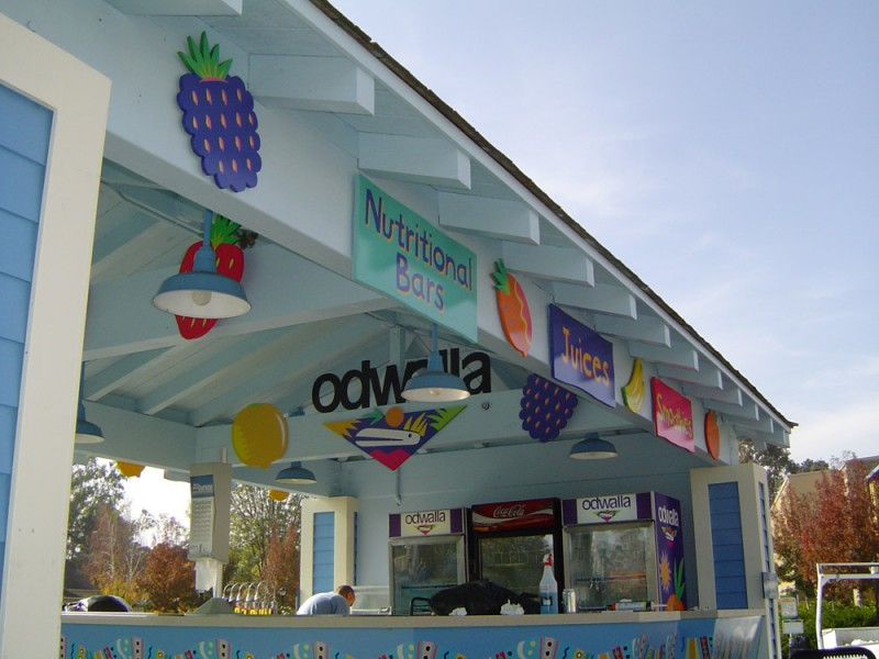 Theme Park custom sign design and installation for Odwalla in Pleasanton, CA