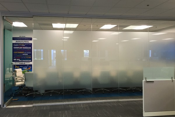 corporate frosted window film in office