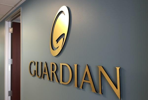 custom lobby sign production in pleasanton for Guardian